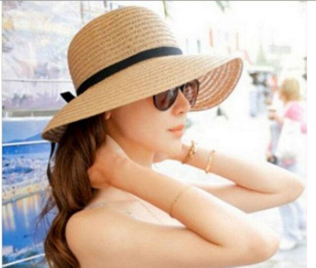 fashionable Women's Brim Summer Beach Sun Hat Straw floppy Elegant Bohemia cap