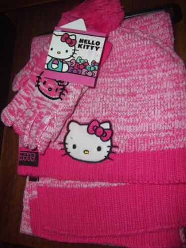 Girls Knit Hello Kitty Winter Hat with Pompom Scarf and Matching Gloves