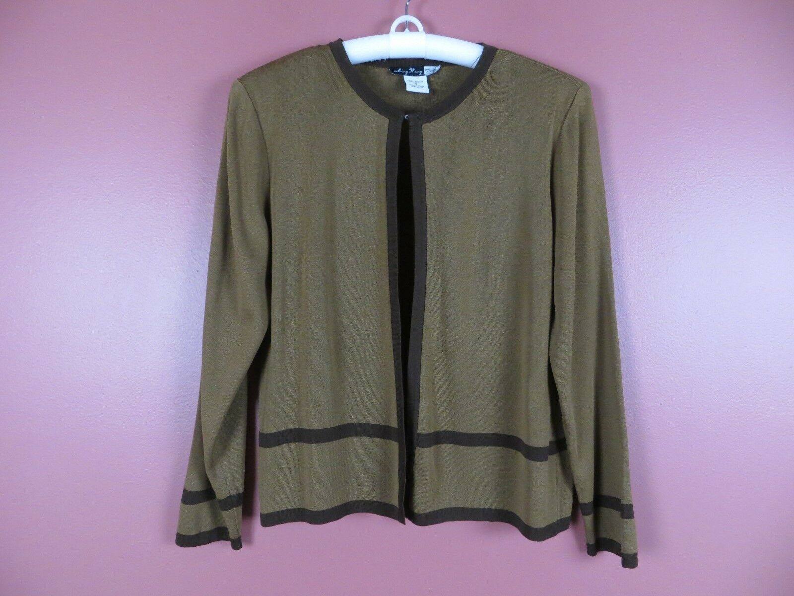 SC000438- MING WANG Womens Acrylic Stretch Knit Cardigan Sweater Browns Sz S