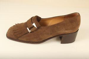 Bruno-Magli-Sz-7-5-B-Brown-Suede-Chunky-Heel-Womens-Kiltie-Fringe-Loafers-Shoes