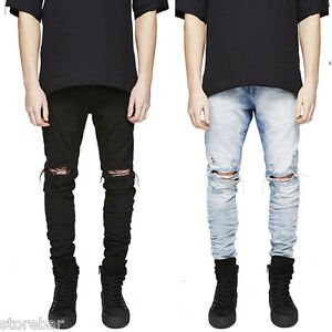 7a55b8cf785 Image is loading Mens-Ripped-Distressed-Skinny-Jeans-Slim-Fit-Straight-