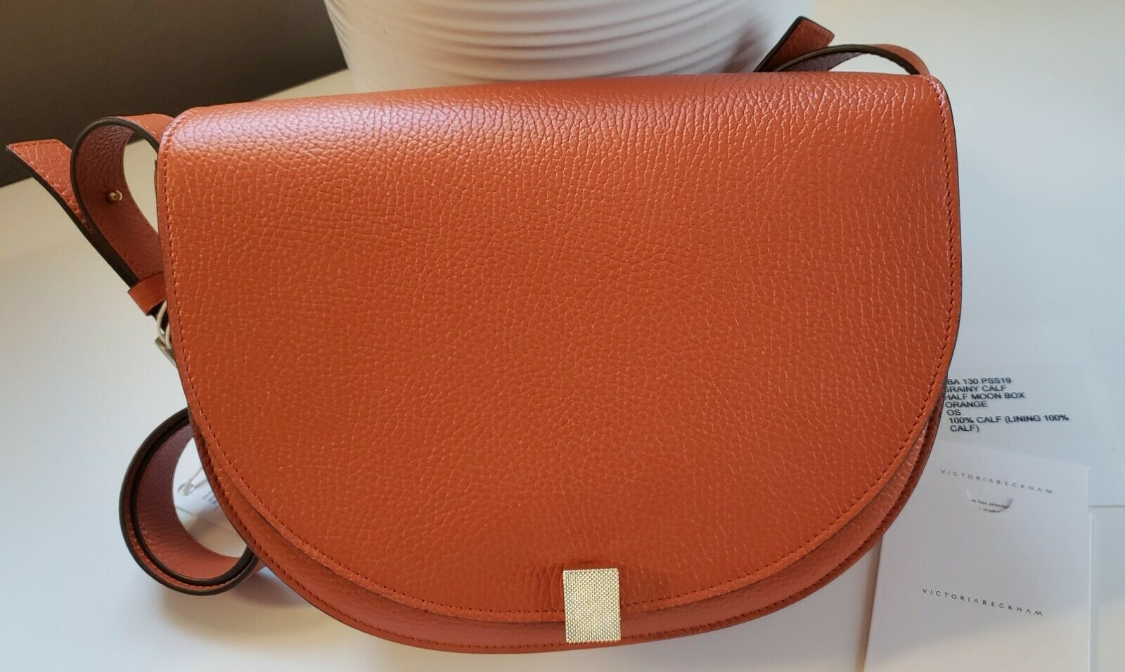 NWT VICTORIA BECKHAM Half Moon Box Pebbled Leather Shoulder Bag -Orange