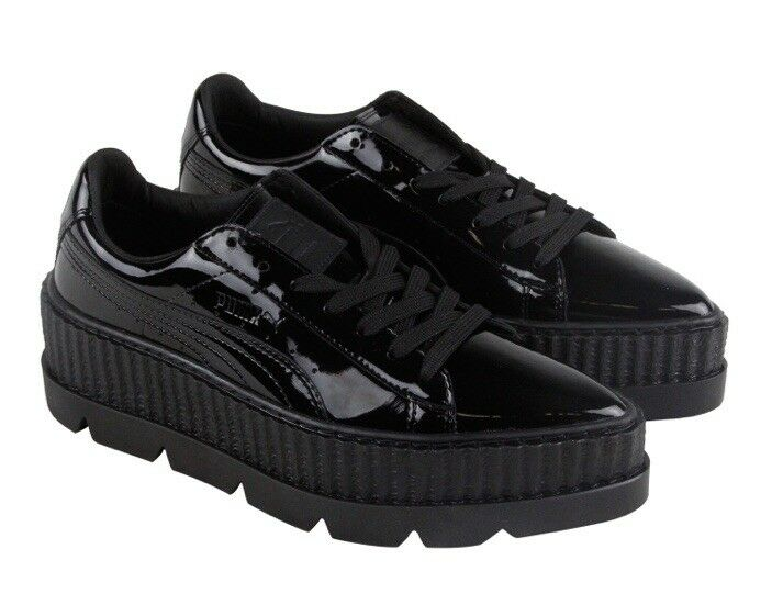 PUMA RIHANNA POINTY CREEPER PATENT WOMENS BLACK LACE UP HTF SNEAKER