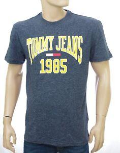 Détails sur Tommy Hilfiger Jeans TEE SHIRT bleu chiné Homme COLLEGIATE TEE DM0DM05129