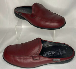 Mephisto-Cool-Air-Caoutchouc-Slip-On-Red-Leather-Shoes-Women-039-s-Size-6-5