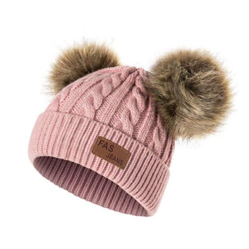Kids Baby Boy Girl Double Faux Fur Pom Hat Winter Warm Crochet Knitted Beanie ff