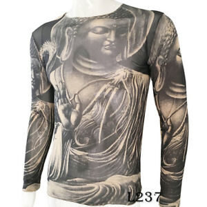 Jesus-Buddha-Tattoo-Sport-T-Shirt-Tattoo-Tops-Biker-Cycling-Fitness-Plus-Size