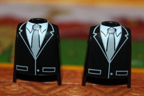 Playmobil x2 torsos Black cobartas black tie tuxedo dress groom top
