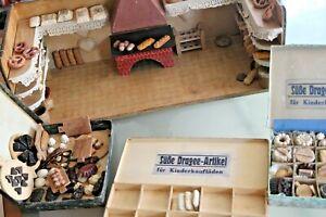 JOUET-BOIS-ancien-boulangerie-epicerie-miniature-3-boites-pains-Annees-1900-30