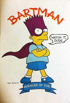 """SIMPSONS POSTER BART BARTMAN AVENGER OF EVIL 1990 VINTAGE SEALED NOS 21"""" x 32"""""""