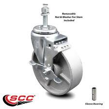 5 Inch Semi Steel Wheel Swivel 10mm Threaded Stem Caster With Brake Scc