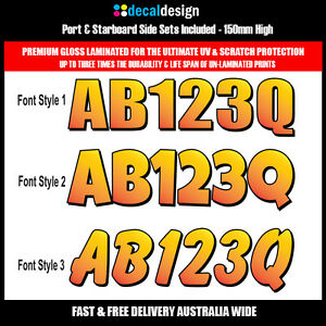 Boat-Rego-Decal-Set-150mm-Registration-Stickers-VIC-NSW-SA-TAS-WA-YELLOW-PREMIUM