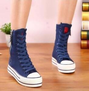 Womens-Canvas-High-Top-Sneakers-Shoes-Zip-Ankle-Boots-Lace-Up-Flat-Heels-Fashion