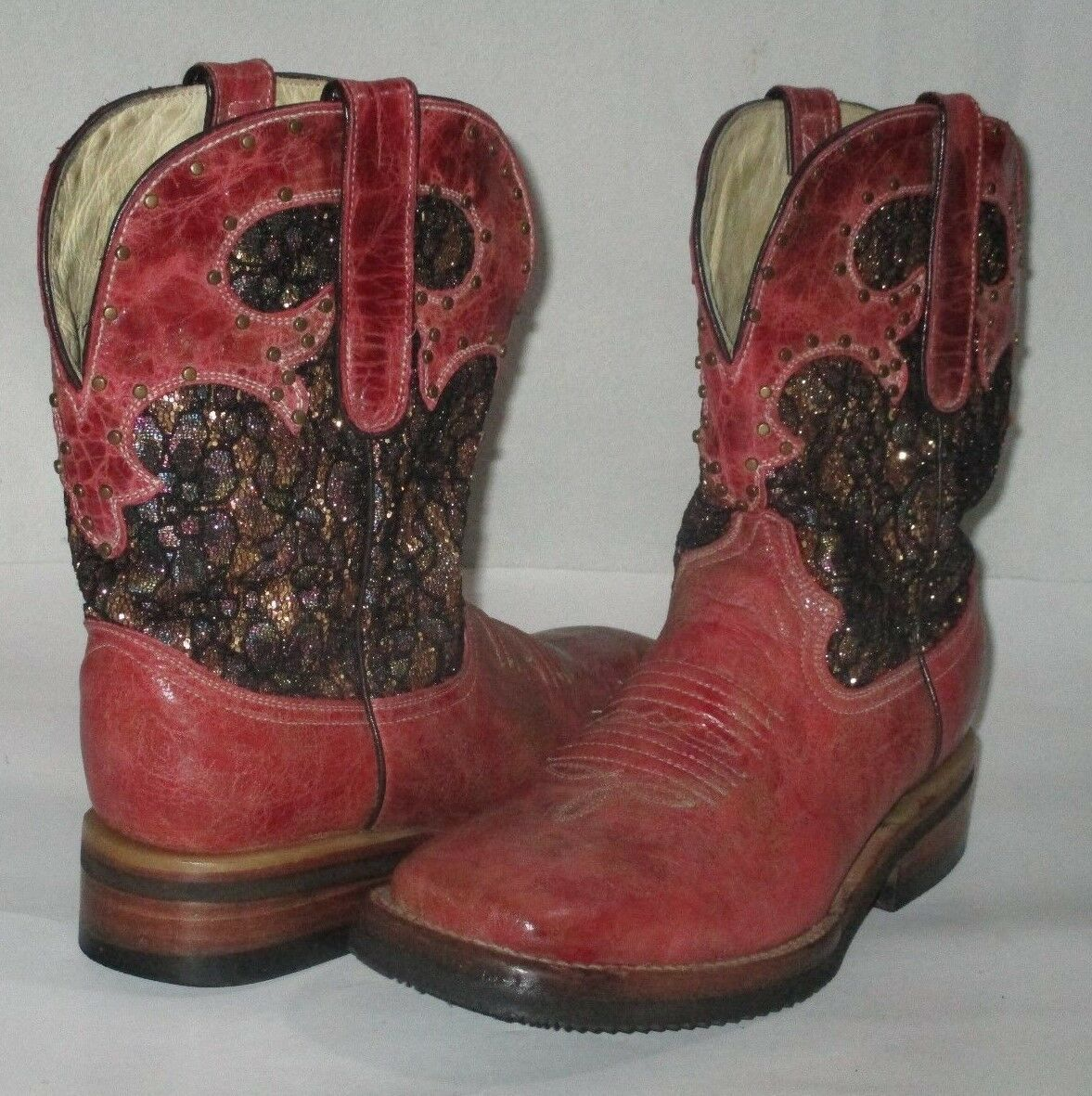 Ferrini Western Womens Red Leather Black Glittery Inlay Square Toe Boots SZ 7.5D