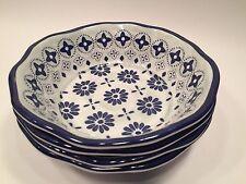 Tommy Bahama Melamine Salad Soup Cereal Bowls Set of 4 Blue White Floral NEW