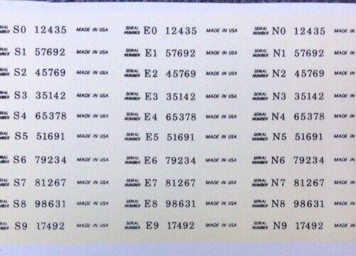 Guitar waterslide Serial Numbers