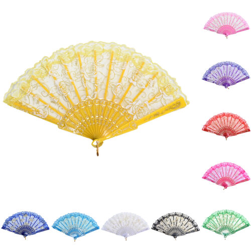 Chinese Style Dance Party Wedding Lace Folding Hand Held Flower Fan 9UK