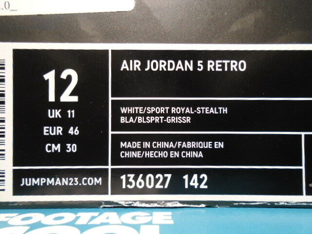 Man/Woman 2006 WHITE Nike Air Jordan V 5 Retro WHITE 2006 ROYAL BLUE STEALTH GREY OG 136027-142 12 Clearance price Orders are welcome Diversified new design HW680 bb2380