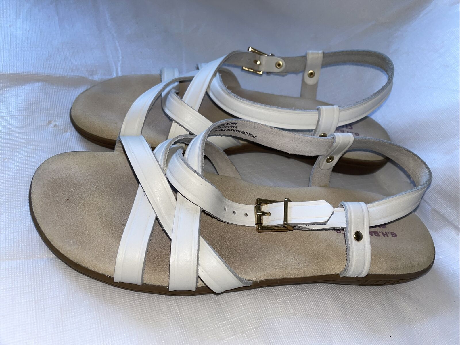 GH BASS Sunjuns Women's White Leather Sandals Str… - image 1