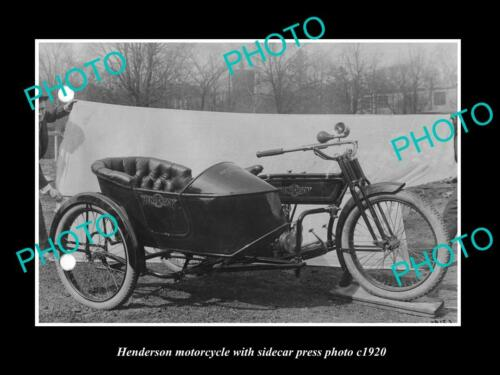 OLD 6 X 4 HISTORIC PHOTO OF HENDERSON MOTORCYCLE PRESS PHOTO, SIDECAR 1 c1920