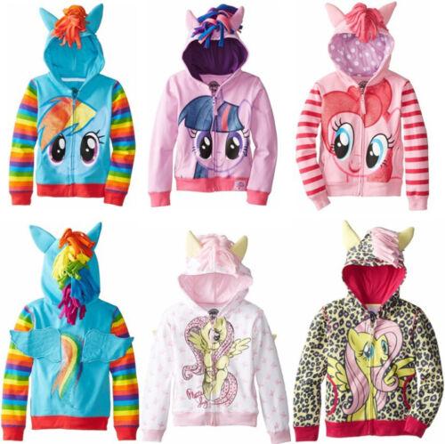 Kids Girls Unicorn Hooded Sweatshirt Jacket Zip Up Hoodie Jumper Coat Outerwear