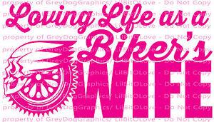 Loving-Life-as-a-Biker-039-s-Wife-Vinyl-Decal-Sticker-Motorcycle-Skull-Harley-Hog