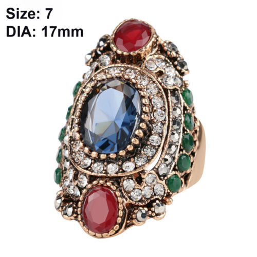 luxury women turkish jewelry vintage gold plated crystal resin big wedding rings 2 9 ebay - Turkish Wedding Ring