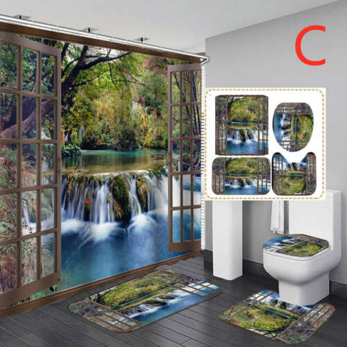 Forest Waterfall Shower Curtain Bath Mat Toilet Cover Rugs Bathroom Set 1//3//4Pcs