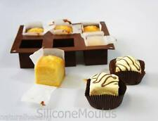 2 x  6 cell SQUARE CUBE Fondant Fancies Cake Silicone Bakeware Mould Chocolate