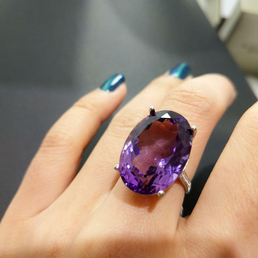 Large Hyperbole Ring With Natural Brazilian Amethyst 22.5 CT