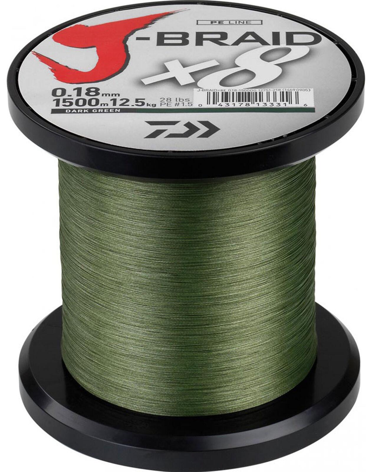 Daiwa J-Braid Dark verde 1500m  CHOOSE YOUR Dimensione