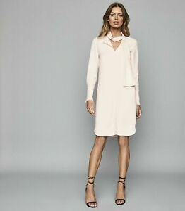 REISS-MIRELA-IVORY-NECK-TIE-LONG-SLEEVE-MINI-SHIFT-OCCASION-EVENING-DRESS-4-16