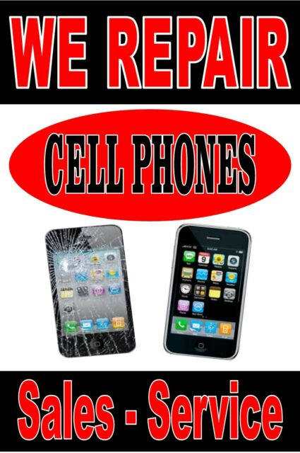 "Poster Sign Advertising  24""X36"" We Repair Cell Phones"" Iphone repairs - service"