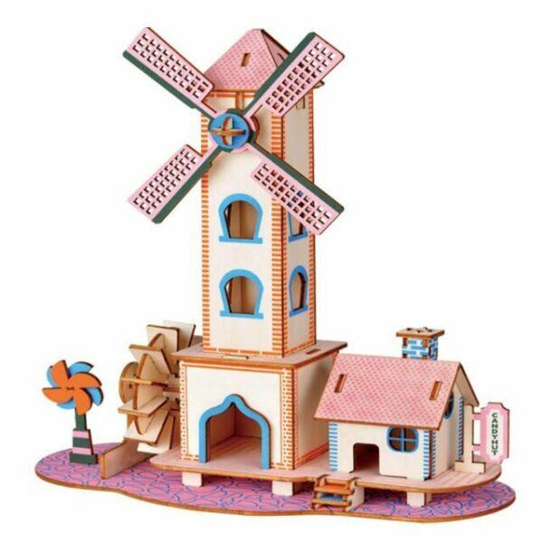 3d DIY Wooden Windmill House Model Kit Cartoon Puzzles Set ...