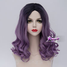50CM Black Mixed Purple Ombre Hair Womens Medium Curly Wavy Costume Cosplay Wig