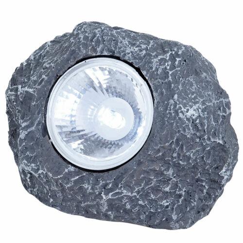 10x LED Solar Steine Leuchten Garten Beleuchtung Balkon Außen Steh Lampen grau
