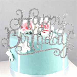 Image Is Loading Gold Silver Happy Birthday Cake Topper Wedding Party