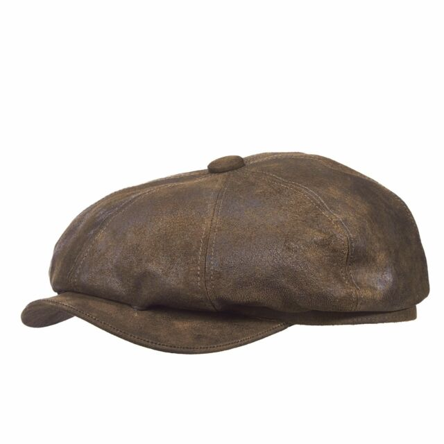 STETSON CLASSIC LEATHER COLLECTION BROWN FRONT SNAP WEATHERED IVY 8/4 CAP STW199