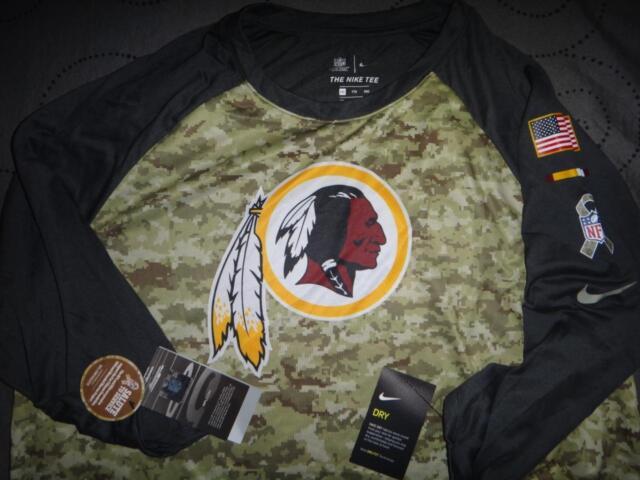 NIKE REDSKINS NFL SALUTE TO SERVICES RAGLAN 3/4 SLEEVE SHIRT NWT $40.00