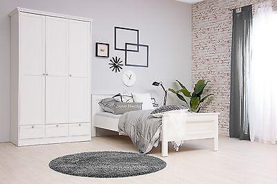 """Diplomatisch Einzelbett Schlafzimmerbett """"natura"""" Bett 90 X 200 Cm Weiß Landhausstil"""
