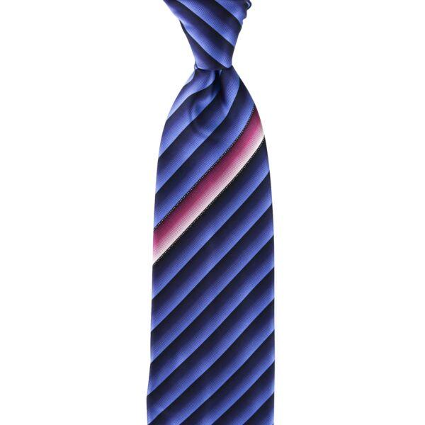 $ 240 Nuova Con Etichetta Italo Ferretti Nero Blu Righe 100% Seta Cravatta Fatto Rimozione Dell'Ostruzione