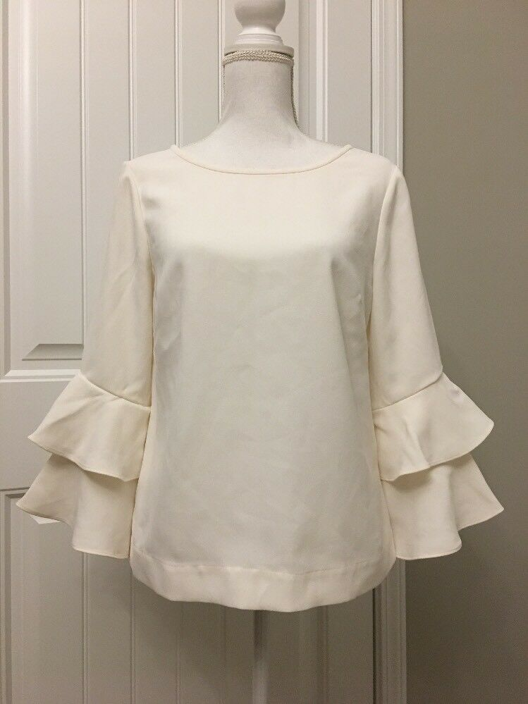 New J Crew Tierot Bell-sleeve Top in Drapey Crepe Ivory Sz 6 H2197