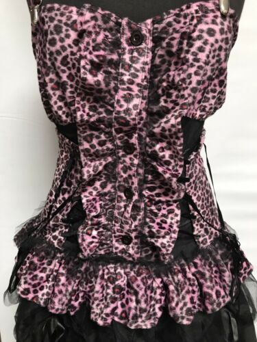 Gothic Punk Short Pink Fur Animal Print Dress With  Corseted Detail One Size