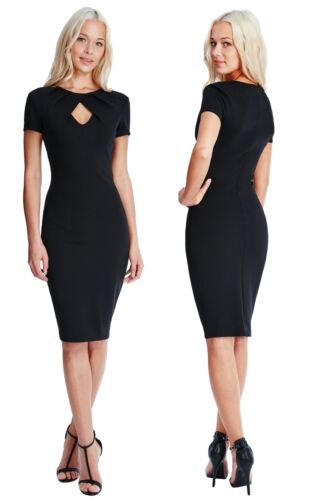 Goddess Black Pleated Front Keyhole Fitted Pencil Cocktail Evening Party Dress