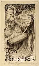 Frans Ijserinkhuijsen Rococco Dame Exlibris PGW Stoutenbeek Etching C3 sign 1947