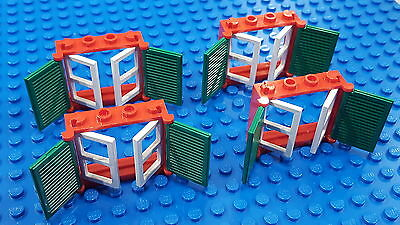 2 Windows House Lego Lot Of 2 Red Doors Home City Green Shutters