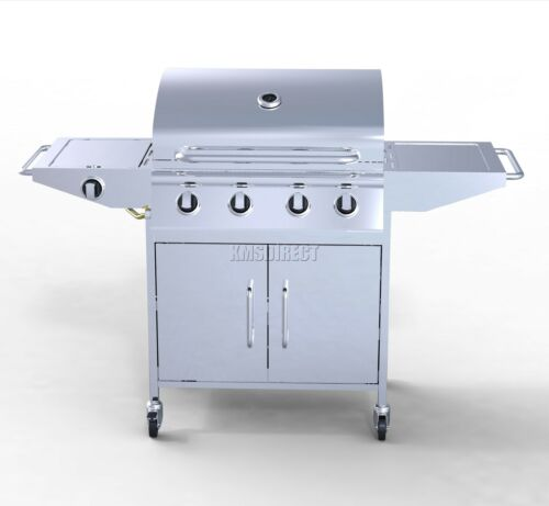 FoxHunter 4 Burner BBQ Gas Grill Stainless Steel Barbecue 1 Side Outdoor New