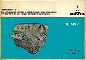 deutz f6l 413v engine spare parts manual ebay rh ebay com Deutz Repair Manual Deutz -Fahr Manual