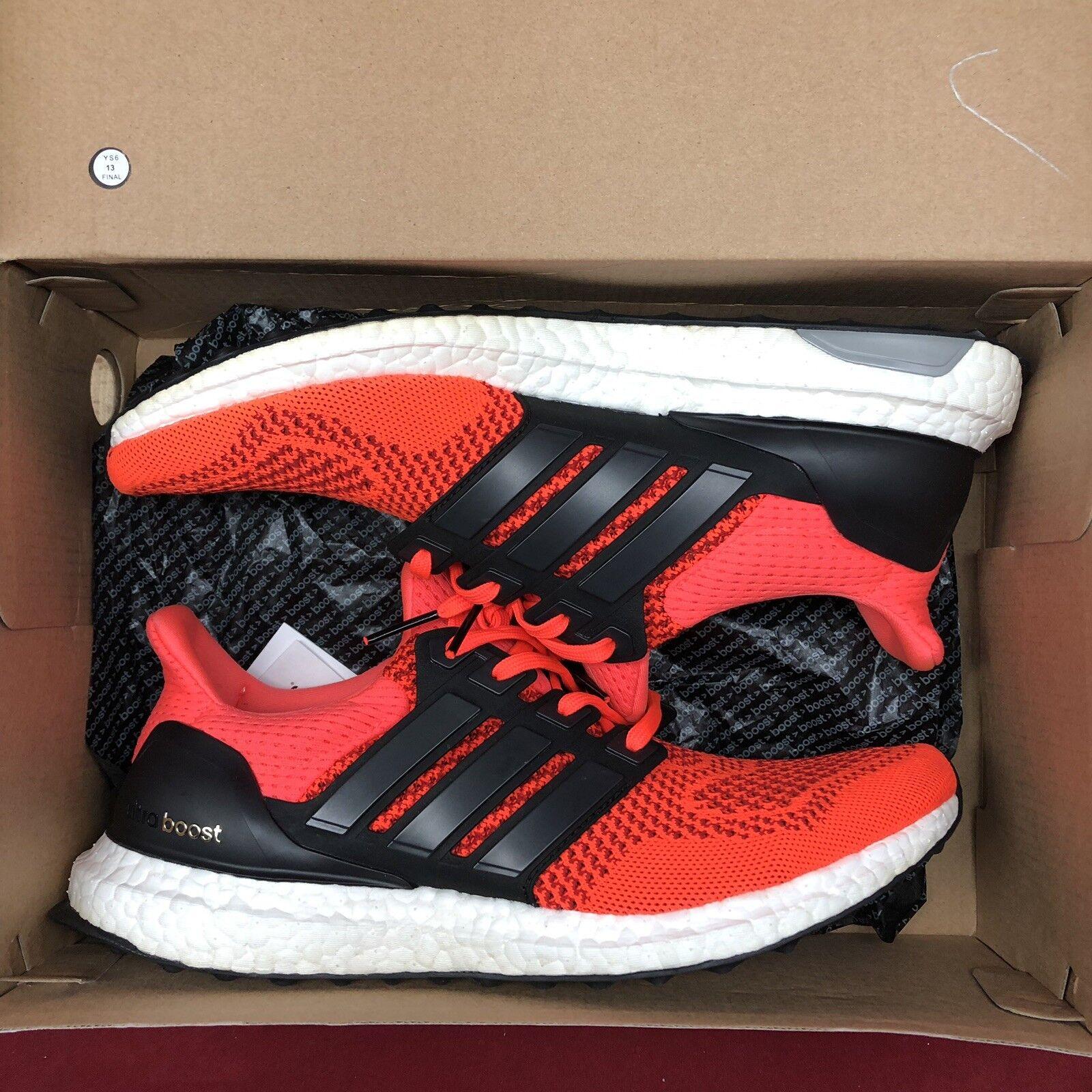 Adidas Originals Ultraboost 1.0 Solar Red Neon Size 9 B34050 Yeezy Boost