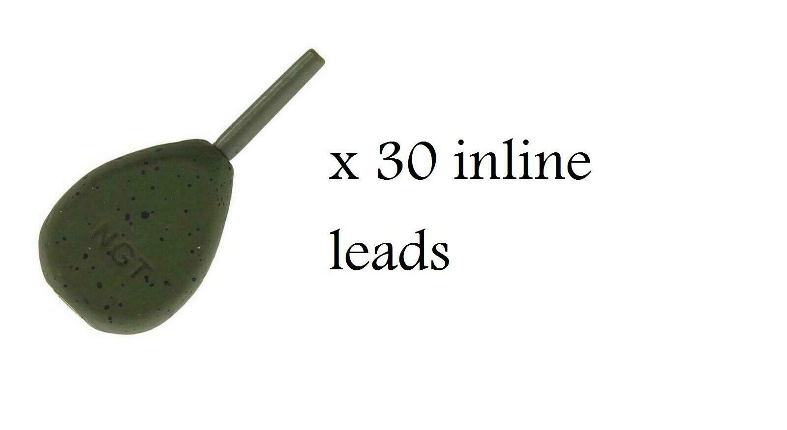 Ngt x 30 inline pear 1.1oz  coated leads weights carp coarse fishing